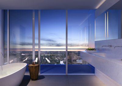 3D rendering sample of a bathroom design at 2000 Ocean condo.