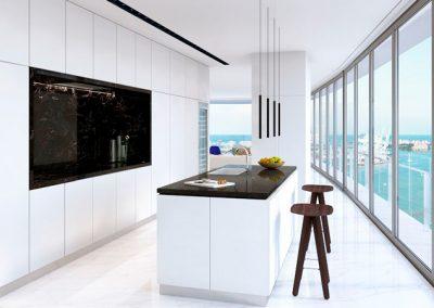 3D rendering sample of a whit modern kitchen design at Aston Martin Residences.