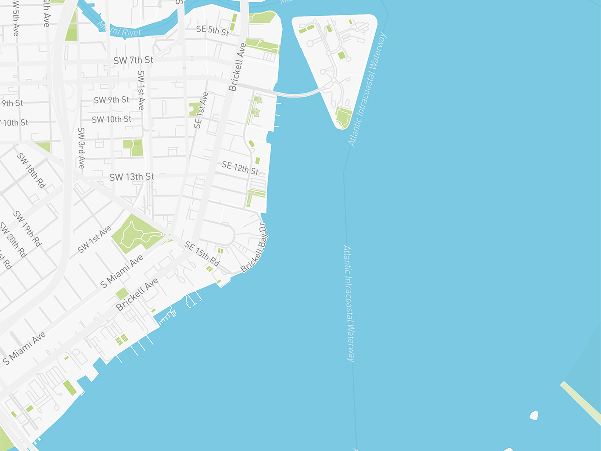 Map illustration of Brickell Miami, Florida.