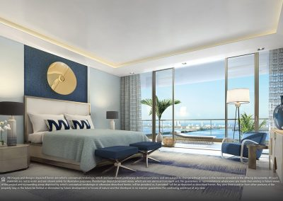 3D rendering sample of a bedroom design at Elysee condo.