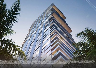 3D rendering sample of Elysee condo from the ground up looking up at the building at dusk time.