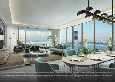 3D rendering sample of a living room and dining room design at Elysee condo.