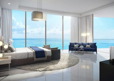 3D rendering sample of a large bedroom design at The Estates at Acqualina condo.
