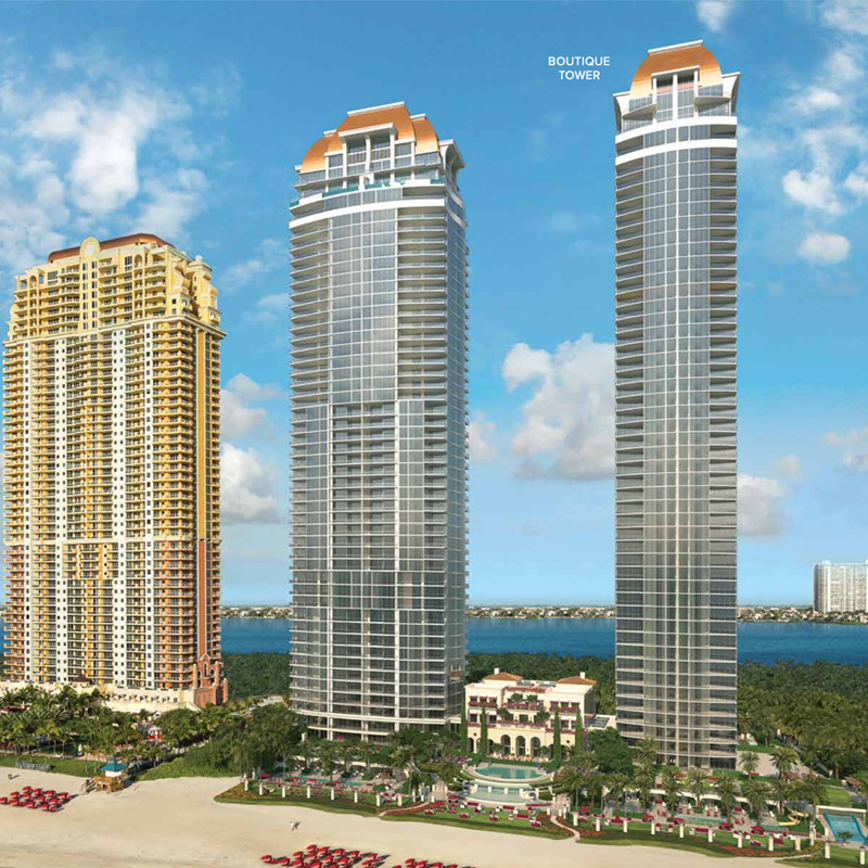 3D rendering sample of exterior of The Estates at Acqualina condo.