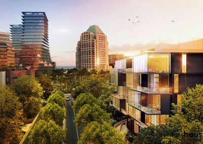 3D rendering of GlassHaus condo with neighboring buildings at sunset.