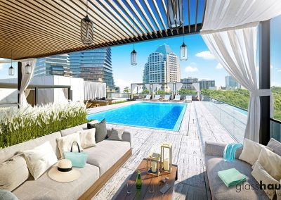 3D rendering sample of a cabana and pool at GlassHaus condo.