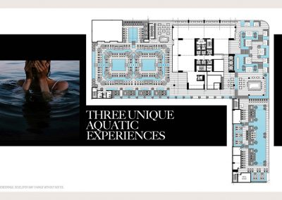 Architectural illustration of Legacy Hotel & Residences' three unique aquatic experiences.