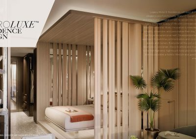 3D rendering sample of a ho tel-style room design at Legacy Hotel & Residences condo.