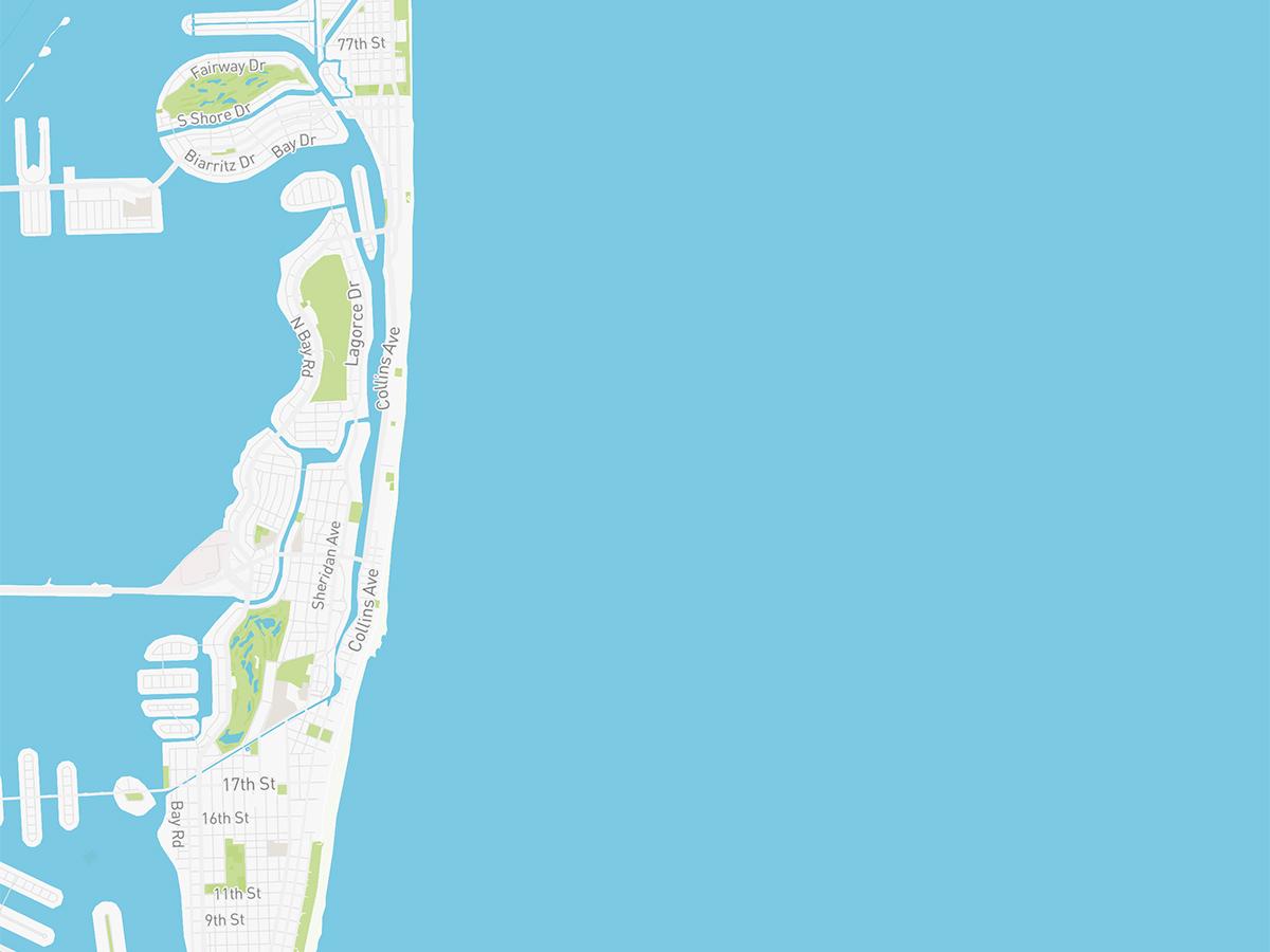 Map illustration of Miami Beach, Florida.