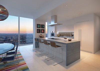 3D rendering sample of a modern kitchen design at Missoni Baia condo.
