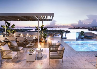 3D rendering sample of the pool deck at Monaco Yacht Club & Residences at dusk.