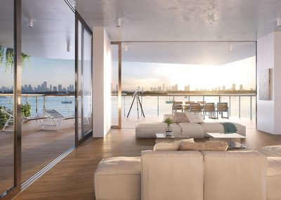 3D rendering sample of a large living room at Monad Terrace condo.