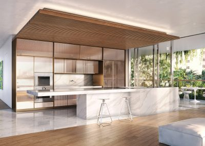 3D rendering sample of a modern kitchen design at Monad Terrace condo.